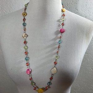 Pink Swarovski Style Crystal & Shell Necklace